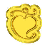 Golden shield like trophy leaf ornament Royalty Free Stock Photos