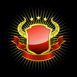 Golden_shield_with_red_ribbon. High detailed vector illustration of golden shield whith red ribbon. This decorative element is ideal for use in your logotype royalty free illustration
