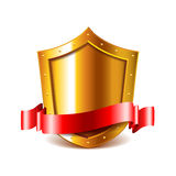 Golden shield with red ribbon  vector Royalty Free Stock Photography