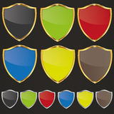 Golden shield set Stock Photography