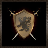Golden shield and swords. Golden riveted shield with image of heraldic lion and swords Royalty Free Stock Photo