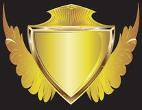 Golden Shield with Wings 1 Royalty Free Stock Photos