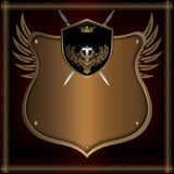 Golden shield with wings and swords. Royalty Free Stock Images