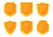 Golden shields collection. Vector illustration royalty free illustration