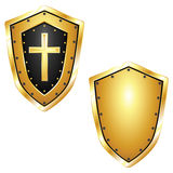 Golden Shields with Cross Royalty Free Stock Photo