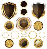 Golden Shields, labels and laurels,  brown edition Stock Photography