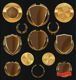 Golden Shields, labels and laurels, gold and brown collection Stock Image