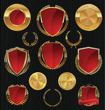 Golden Shields, labels and laurels, gold and red collection Royalty Free Stock Photography