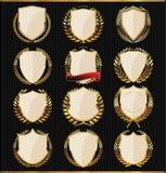 Golden Shields, labels and laurels Stock Image