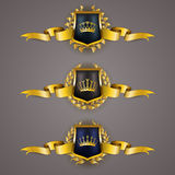 Golden shields with laurel wreath Royalty Free Stock Photography