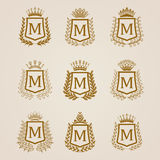 Golden shields with laurel wreath Stock Photo