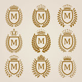 Golden shields with laurel wreath Stock Photography