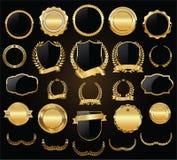 Golden shields laurel wreaths and badges vector collection. Golden shields laurel wreaths and badges vector set vector illustration