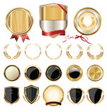 Golden shields, laurels and medals collection. Golden shields, laurels and medals retro collection Royalty Free Stock Image