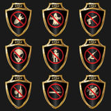 Golden shields Royalty Free Stock Images