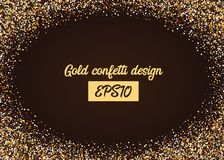 Golden shimmer confetti random falling. Birthday carnival glitter. Shiny frame design banner glowing invitation card. Gold random falling holiday confetti Royalty Free Stock Photography