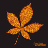 Golden Shimmer Glowing Chestnut Leaf Vector. Abstract bright golden shimmer glowing dots in autumn chestnut leaf shape artistic vector background. Scatter shine Stock Image