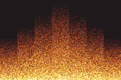 Golden Shimmer Glowing Round Particles Vector Background. Abstract bright golden shimmer glowing round particles vector background. Scatter shine tinsel light Royalty Free Stock Photo