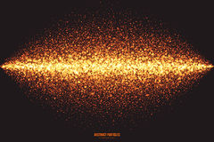Golden Shimmer Glowing Round Particles Vector Background. Abstract bright golden shimmer glowing round particles vector background. Scatter shine tinsel light Stock Photo