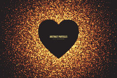 Golden Shimmer Glowing Round Particles Vector Background. Heart symbol vector background. Abstract bright golden shimmer glowing round particles. Burning sparks Royalty Free Stock Photo