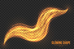 Golden Shimmer Glowing Shape Vector Background. Abstract bright golden shimmer glowing burning shape on transparent background vector illustration Royalty Free Stock Photo