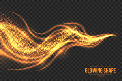 Golden Shimmer Glowing Shape Vector Background Stock Photo