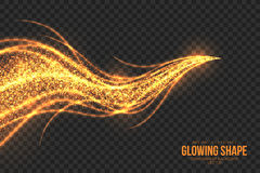 Golden Shimmer Glowing Shape Vector Background Stock Photography