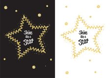 Golden shimmer shine like star. Golden shimmer shine star isolated black. Vector confetti party illustration. Glowing decoration design frame. Light fashion Royalty Free Stock Photo