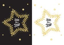 Golden shimmer shine like star. Shine like a star. Golden shimmer shine star isolated black. Vector confetti party illustration. Glowing decoration design frame Royalty Free Stock Photos