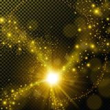 Golden shine with lens flare on transparent background Royalty Free Stock Image