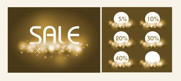 Golden shine sale set Royalty Free Stock Photography