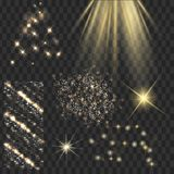 Golden shine stars with glitters, sparkles icons set. Effect twi. Nkle, glare, scintillation element sign, graphic light. Transparent design elements background Stock Photo