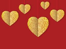 Golden shining expensive hearts. Amazing glittering expensive hearts of gold for the day of all lovers, family day Royalty Free Stock Photography