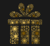 Golden shining gift on dark background.  illustration. Golden shining gift on dark background Royalty Free Stock Image