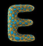 Golden shining metallic 3D with blue glass symbol capital letter E - uppercase isolated on black. 3d rendering Royalty Free Stock Photography