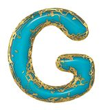 Golden shining metallic 3D with blue paint symbol capital letter G - uppercase isolated on white. 3d. Rendering vector illustration