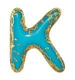 Golden shining metallic 3D with blue paint symbol capital letter K - uppercase isolated on white. 3d. Rendering stock illustration
