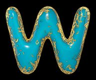 Golden shining metallic 3D with blue paint symbol capital letter W - uppercase isolated on black. 3d vector illustration