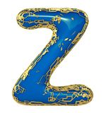 Golden shining metallic 3D with blue paint symbol capital letter Z - uppercase isolated on white. 3d stock illustration