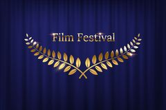 Golden shiny award laurel wreaths and Film Festival text isolated on blue curtain background. Vector design element. vector illustration