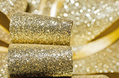Golden shiny bow Stock Images