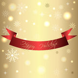 Golden shiny card for christmas and new year with red ribbon.  Stock Photos