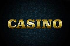 Golden Shiny Casino Sign. On the Dark Pattern Background Stock Image