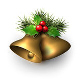 Golden shiny christmas bells. Golden shiny christmas bells with holly berries. Vector illustration Stock Image