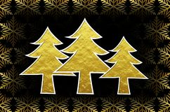 Golden 3d Christmas trees with golden ice crystals. Golden shiny 3d Christmas trees with golden ice crystals snowflakes vector illustration