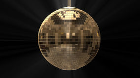 Golden shiny disco ball on black background stock footage