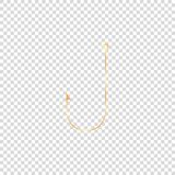 golden shiny fishing hook on empty background vector illustration