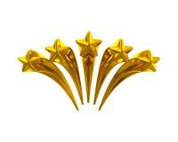 Golden shiny five stars Stock Image