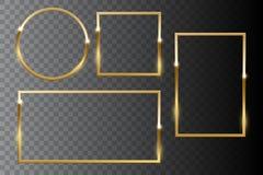 Golden shiny frame set isolated on dark transparent background. Vector design elements. royalty free stock image