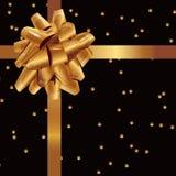 Golden shiny gift bow on black starry background royalty free illustration
